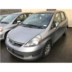 2007 HONDA FIT,4 DOOR SEDAN, GREY, VIN # JHMGD37417S812837