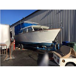 1963 CHRISCRAFT BOAT WITH 1997 UBUILT TRAILER, BLUE, VIN # NIL