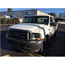 2004 FORD F-250 XL SUPER DUTY, PU, WHITE, VIN # 1FTNX20L54ED42138