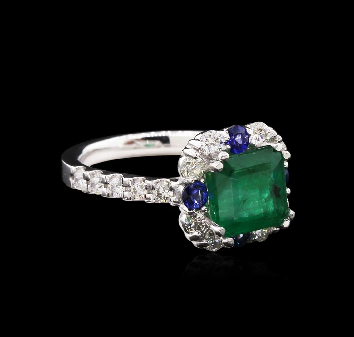 ctw emerald sapphire and diamond ring 14kt white gold. Black Bedroom Furniture Sets. Home Design Ideas