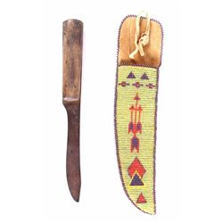 Plains Beaded Sheath With 19th C. Trade Knife