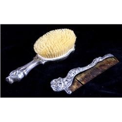 Antique Victorian Sterling Silver Comb and Brush