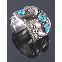 Signed Navajo Sterling Silver Turquoise Claw Cuff
