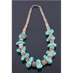 Navajo Turquoise & Discoidal Shell Necklace