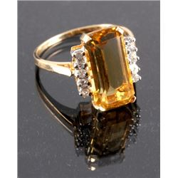 14K Gold Citrine and Diamond Ring