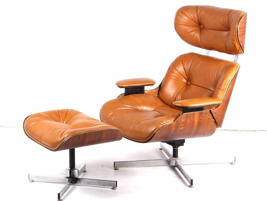 Image 1 : Selig Mid Century Leather Lounge Chair Eames 1960 ...