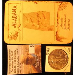 "Card with Liberty standing with shield and flag on obverse, rev. ""Alabama Atlanta Tallahassee Jackso"