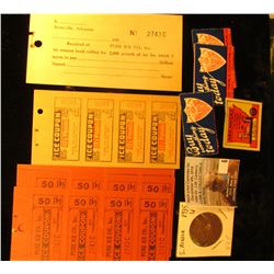 "(4) different Arkansas Promotion stickers; 4-pieces of memorabilia from the ""Pure Ice Co."" Batesvill"