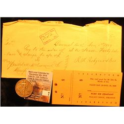 "1897 Promissory Note from Carmel, Ark.; 1968 ""Pure Ice Company Walnut Ridge, Arkansas"" Punch Ticket;"