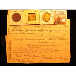 (16) various bank checks from Connecticut 1894-1909; 1935 South Africa One Pence, VF; & (2) 1962 Hal