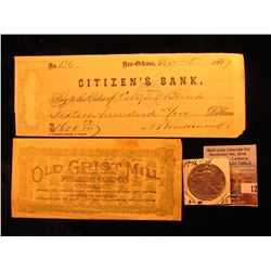 """Old Grist Mill Health Foods Premium Coupon"", Boston, Ma. Booklet; New Orleans Citizen's Bank Check"