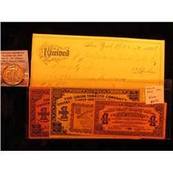 1883 Payment Receipt from New York; 4-pc. Set crica 1915 United Profit-sharing Coupons including The