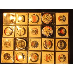 "(19) Different Political Pin-backs in a plastic page. Includes ""1926 Sesquicentennial"", ""Humphrey"","