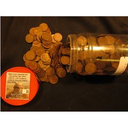 (400) Mixed Date Wheat Cents in a plastic jar.