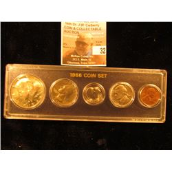 1966 Coin Set, 40% Silver Half to Lincoln Cent, all BU. (5 pcs.).