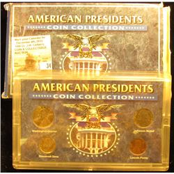"""American Presidents Coin Collection"" in plastic case and box. (4 pc. Set)."