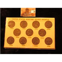 11-pcs. Set of Silver World War II Jefferson Nickels in a holder.