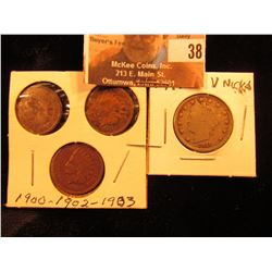 "1900, 02, & 03 Indian Head Cents & 1911 Liberty Head ""V"" Nickel."