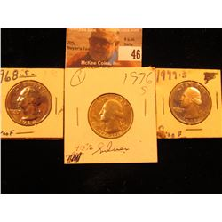 1968 S Proof, 76 S BU 40% Silver & 1977 S Proof Washington Quarters.
