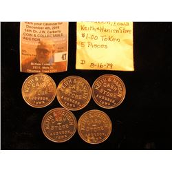 "(5) ""Keith & Hansen/Cash/Store/Audubon,/Iowa"", ""Good For/$1.00/In Trade"", al., rd., 31 mm, AU-Gem BU"