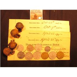 (4) old Iron Bells; (5) Old Checks dated 1893-94; a group of (10) Old Foreign Coins, most of which a