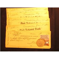 "(10) 1895 era ""Memorandum Check(s)"" from ""First National Bank Davenport, Iowa""; & 1923 S U.S. Silver"
