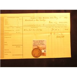 "1877 Tax Certificate from ""Treasurer's Office, Muscatine, Iowa""; & 1897 P Barber Half Dollar, Good."