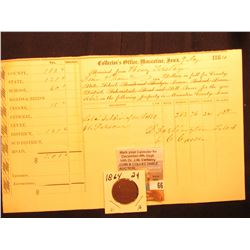 "1864 Civil War Era ""Collector's Office, Muscatine, Iowa ""Insane"" Tax Certificate & 1864 U. S. Two Ce"
