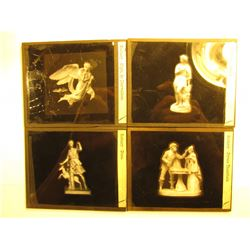 (4) 83 x 102 mm Glass Slides of Art Museum Statues.