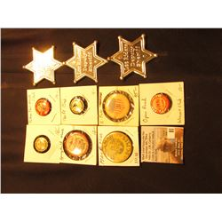 "(3) ""Lee Riders Deputy Sheriff"" Badges; Shield Pin-back with ""5""; ""Manamar""; ""Springfield, Ma….""; ""P"