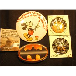 "(3) Rare Pin-backs & a 1930 Donald Duck Cracker Jack's figure : ""Help Bugs Bunny Crippled Children"";"