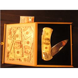 New in box $100 Ben Franklin Note Pocket Knife in wooden box.