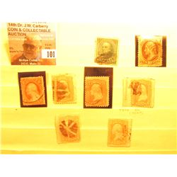 (8) 1860-1870 U.S. Stamps in a Stock page.