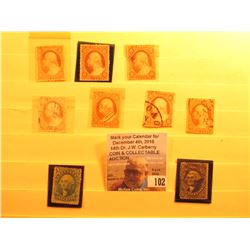 (9) 1860-1870 U.S. Stamps in a Stock page.