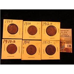 1909 P, 10 P, 12 D, 13 D, 14 P, & 15 P Lincoln Cents. Good to VF.
