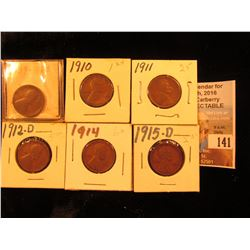 1909 P, 10 P, 11 P, 12 D, 14 P, & 15 D Lincoln Cents. Good to Fine.