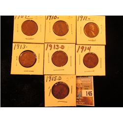 1909 P, 10 P, 11 P, 13 P, 13 P, 13 D, 14P, & 15 D Lincoln Cents. Good to Fine.