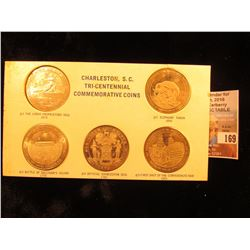 1670-1970 Five-piece Set of Charleston, S.C. Tri-centennial Commemorative Medals in a special holder