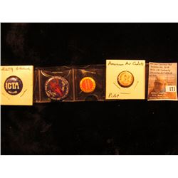 "(4) Scarce Pin-backs: ""I'm an ICTA Backer""; ""Others Ride R-S and M-M Motor Cycles Y the (Devil) Don'"