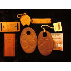 Copper & Linotype Printing die for rolls; 1932 Dog Tag from Madison County, Iowa; 1906 & 1954 Dog Ta