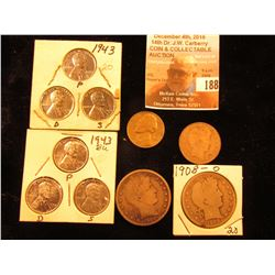 (2) Sets of 1943 P, D, S Steel Cents; 1956 P Jefferson Nickel, BU; 1902 New Orleans Mint Silver Barb