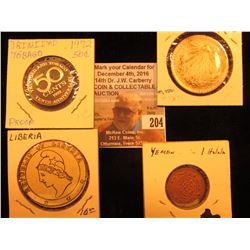 Yemen, 1 Halala, Y11, AU; Republic of Liberia cardboard Coin; 1972 Trinidad & Tobago 50c Proof; & 19