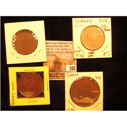 (4) Different Coins from Turkey dating back to the early 1900s, includes C284, Y719, & Y286.