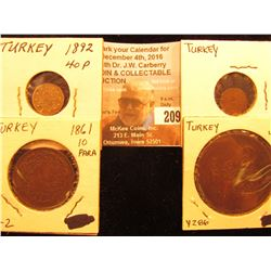 Large Copper Turkey 40 Para, Y286; 1861 Turkey, 10 Para, Y2; small Turkey Unidentified Copper; & 189