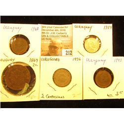 (5) Coins from Uruguay including a Silver 1954 20 Cts. in Unc.