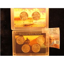 (2) Different Sets of Westward Journey Jefferson Nickels in plastic cases, BU.