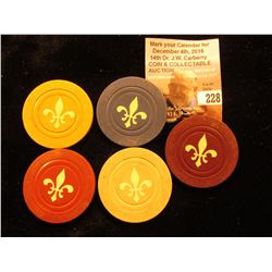 "Set of (5) Different ""Fleur de Lis"" Gambling Chips."