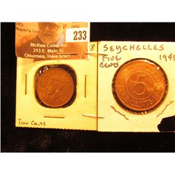 1948 Seychelles Two Cent & Five Cent Pieces, Red-Brown Unc.