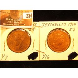 1948 & 1964 Seychelles Five Cent Pieces, Y7 & Y16. Both Red Unc.