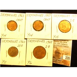 Seychelles Collection of BU Coins: 1959 & 63 Cents, Y14; 1960 Twenty-Five Cents, Y11; & 1948 & 59 Tw